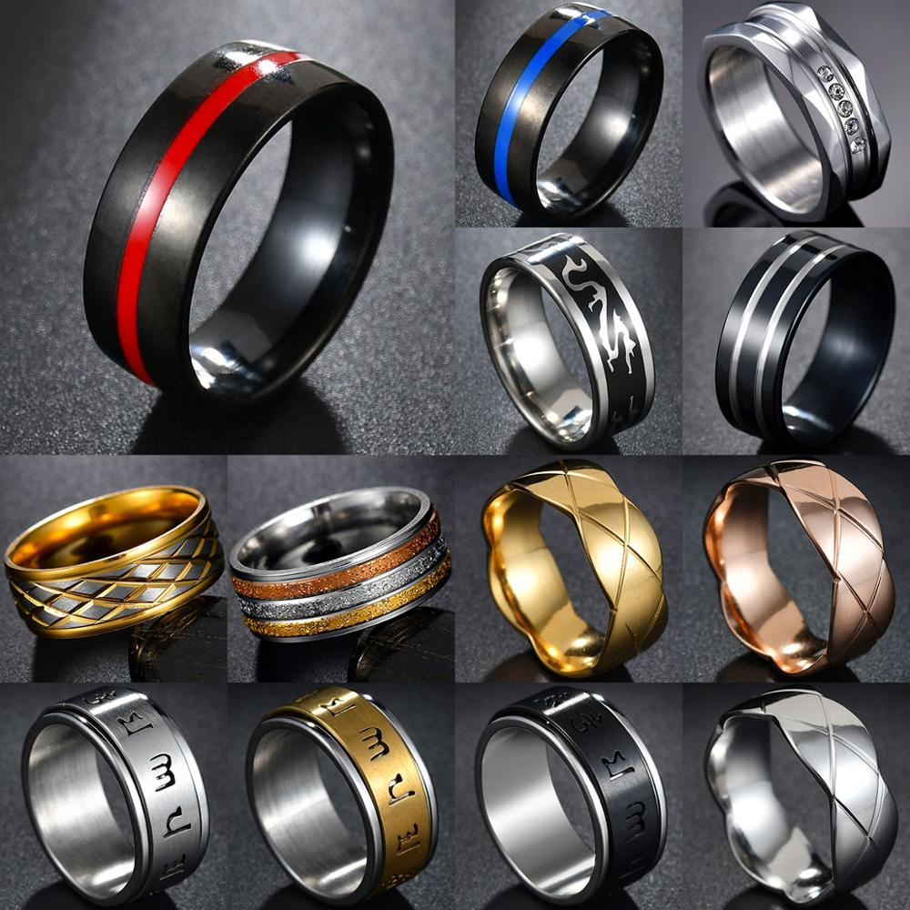 MeMolissa Mens Firefighter Ring Stainless Steel Thin Blue line Ring Top Quality red line rings drop shipping