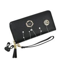 Women Wallets Coin Letter Faux Leather Zipper Dandelion Print Card Package Holders Lady PU Purse Clutch недорого