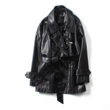 Women PU Faux Leather Jacket Medium Long Zipper Coat With Sashes Spring Europe Fashion Streetwear Solid Black Beige White S M L стоимость