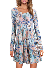 Summer/Spring Women New Hot Selling Long Sleeve O-Neck Dress Casual Floral Print Mini Evening Party Vestidos