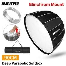 Ambitful portátil p90 90 cm rapidamente instalação rápida softbox parabólico profundo elinchrom montagem flash refletor estúdio softbox