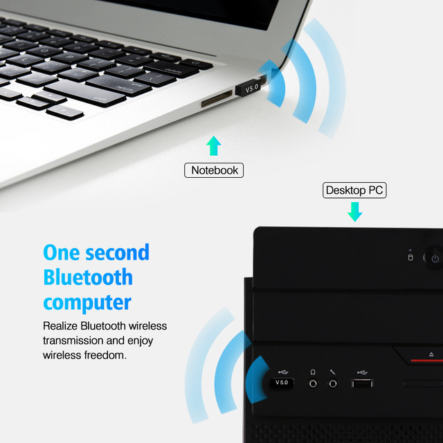 ANMONE Mini BT5.0 USB Bluetooth Wireless Adapter 5.0 Computer Audio Bluetooth Transmitter Adapter PC Dongle For TV PC Car Kit 2