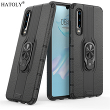 For Huawei P30 Case Protective Finger Ring Silicone PC TPU Armor Shell Hard Back Phone