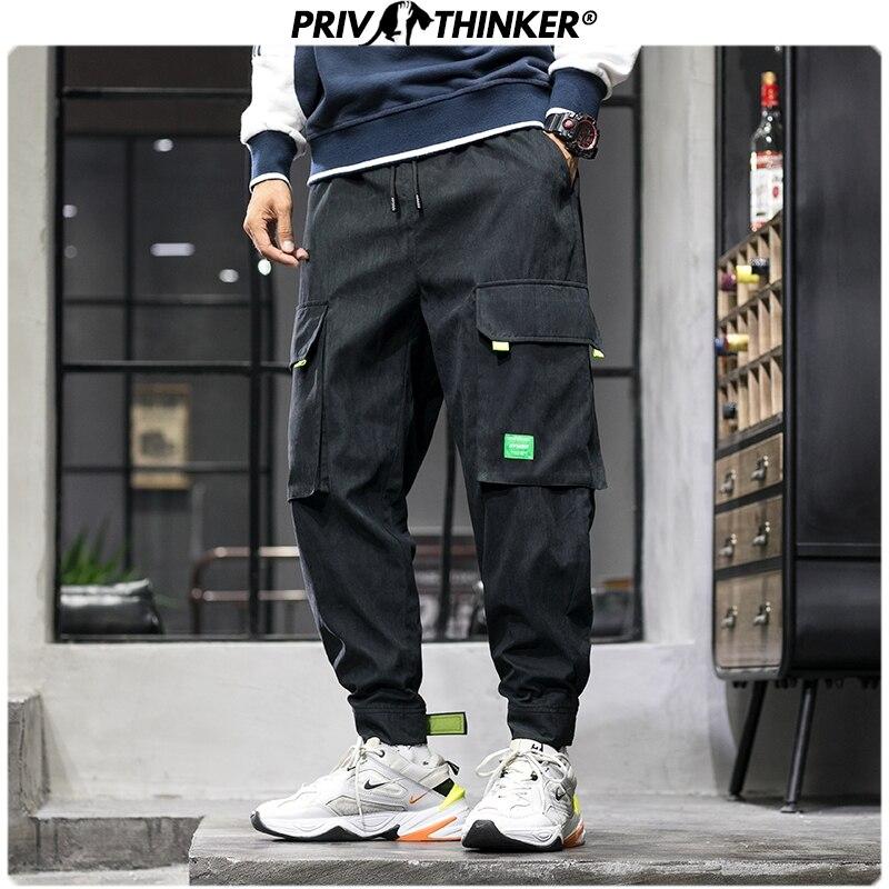 Privathinker Men's Autumn Loose Safari Style Joggers Men Harajuku Pockets Harem Pants Male 2019 Fashion Loose Trousers 5XL Pants
