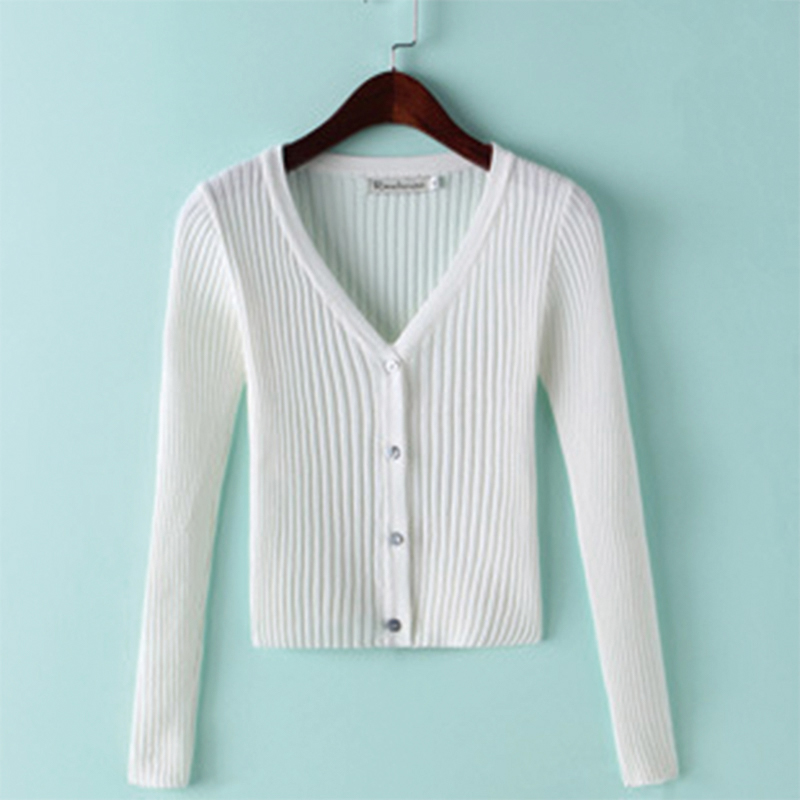 QRWR Spring Autumn Women Sweater Casual Solid Color Knitted Cardigan V Neck Long Sleeve Single Breasted Slim Fit Cardigan Women 6