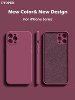 Custodia in Silicone liquido quadrata UTOPER per iPhone 11 12 Pro Max Mini custodia protettiva completa per iPhone XS MAX XR X 7 8 PLUS SE2 Cover
