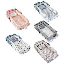 Portable Newborn Baby Sleep Nest Bed Crib Infant Soft Anti-collision Breathable Cotton Lounger