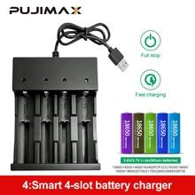 Зарядное устройство PUJIMAX 18650, светодиодный, 4 слота, умная зарядка, 26650, 21700, 14500, 26500, 22650, 26700, литий ионный аккумулятор