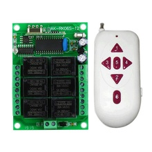 Dc 12v 24v 6ch módulo de relé 315/433mhz receptor sem fio controle remoto interruptor controlador de motor para abridor de porta de garagem leve