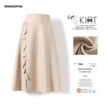INNASOFAN, трикотажная Женская юбка, Осень-зима, трапециевидная юбка с высокой талией, модная Высококачественная шикарная Однотонная юбка с воланом