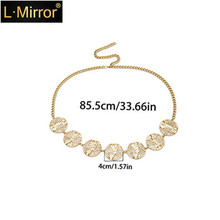 L.Mirror 1Pcs Adjustable Waist Chain Belly Chain Metal Waist Chain Belly Chains for Women Girls Gold/Silver crystal studded wide waist chain adjustable length roman wedding jewelry luxurious women gold color rhinestone belly chains belt