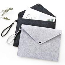Prosta solidna torba na dokumenty z filcu A4 o dużej pojemności teczka na dokumenty biznesowe produkty na dokumenty magazyn materiałów piśmienniczych Tablet Organizer tanie tanio Bonytain A4 Felt File Bag