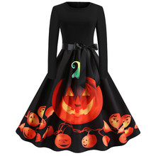 10 Color Fancy Pumpkin Printed Halloween Dress Long Sleeve Mid Length Princess Swing Ladies Costume for Festival Party
