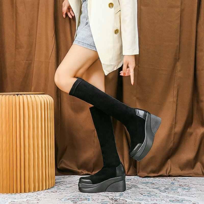 COOTELILI Mới Mùa Đông 2020 Ấm Giày Cho Nữ Giày Chống Trơn Trượt Đầu Tròn Dày 6Cm nội Cao Tăng Chiều Cao 3Cm