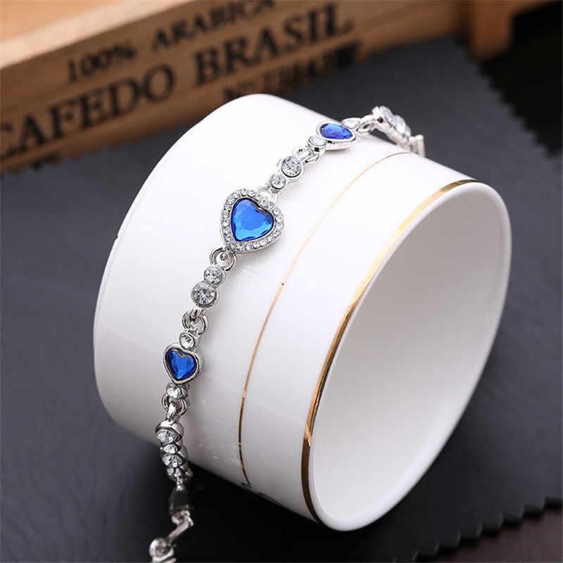 2020 pulsera y brazaletes para mujer con corazón de circonita azul y verde, brazaletes de joyería de marca de moda, brazaletes, accesorios para mujer