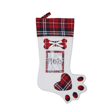 Christmas Candy Socks Bag Plaid Gift Bags Creative Cute Pet Dog Fish Bone Claw Sock Paw Stocking  Xmas Tree Hanging Ornament