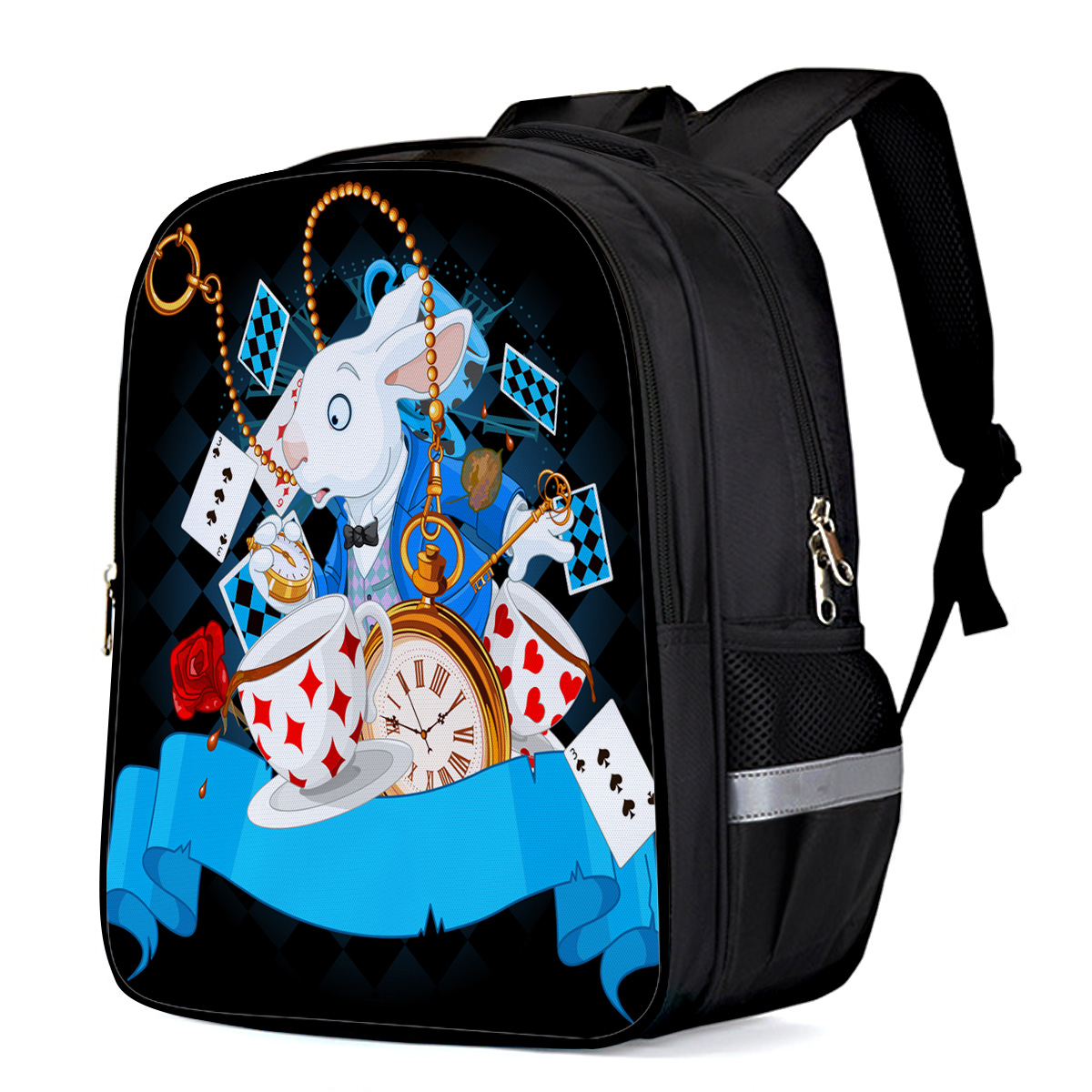 Popular Print Girls Backpack Alice In Wonderland Kids School Bag Large
