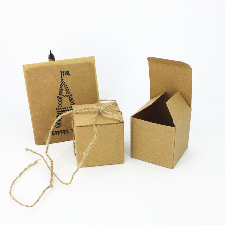 Boîte de bonbons de boîte-cadeau de boîtes de faveur de mariage de forme carrée de papier de 50PCSKraft avec la douche de Babay de corde de chanvre