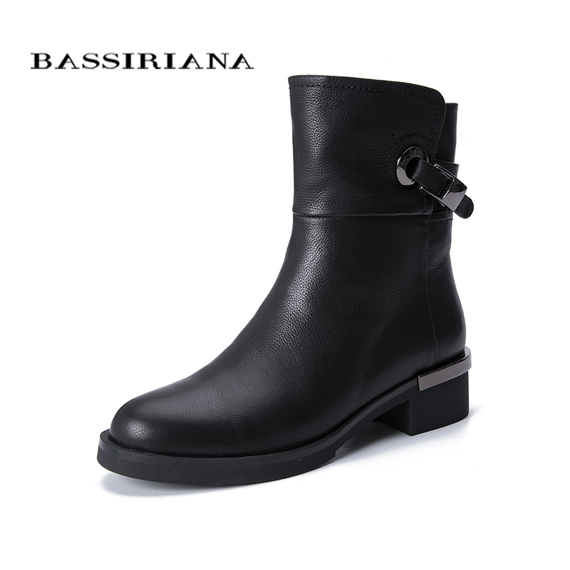 BASSIRIANA winter new shoes. Natural fur warm. Cowhide leather. Rubber non-slip bottom. European fashion new.