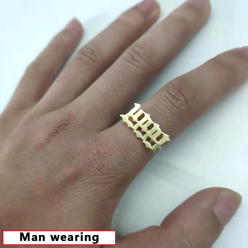 Old English Number Ring Men Anillos Mujer Jewelry Year 1993 1994 1995 1996 1997 1998 1999 Stainless Steel Gold Rings for Women in Rings from Jewelry Accessories