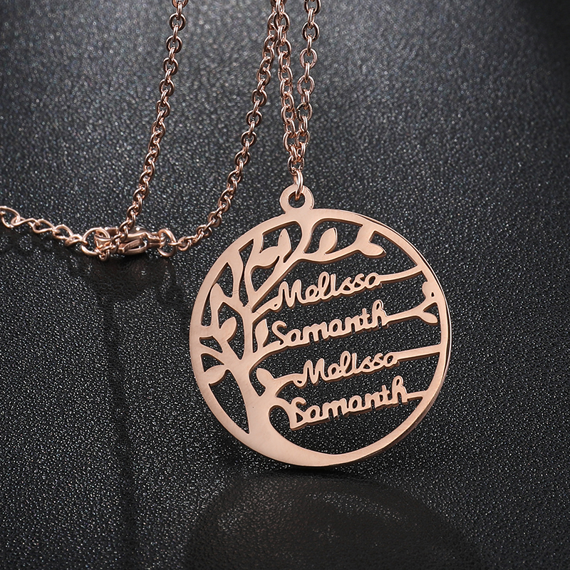 Custom Couple Gifts Tree Of Life Personalized Stainless Steel Name Necklace Golden Family Tree Women Letter Necklace Jewelry