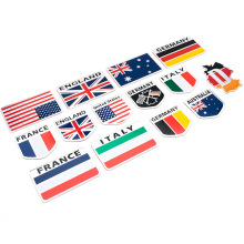 2Pcs Germany Britain Ltaly USA France Flag 3D Metal Chrome Aluminium Car Signs Nameplate Logo Stickers Body