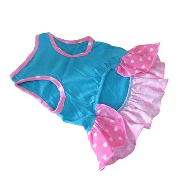 Puppy-Clothes Small Pet Dog Dress Pet Small Dog Clothes For Girls Love Hearts Dress Dog Clothes For Dogs image
