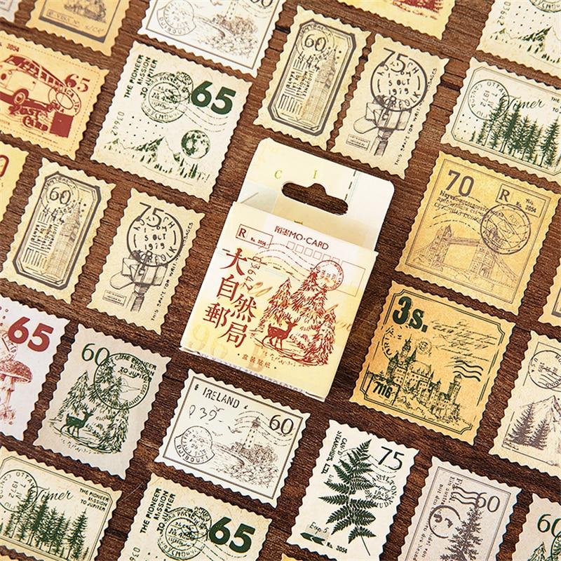 45pcs Nature Forest Post Stickers Set Vintage Postage Stamp Sticker Home DIY Art Decoration Adhesive