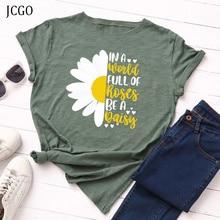JCGO Summer T-Shirt Women Plus Size S-5XL Cotton Graphic Flower Daisy Print Female Short Sleeve