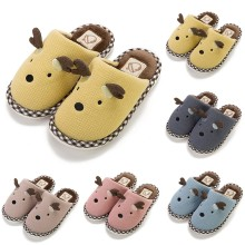 Children Kids Winter Shoes Baby Girls Boys Cartoon Deer Warm Home Slipper Casual