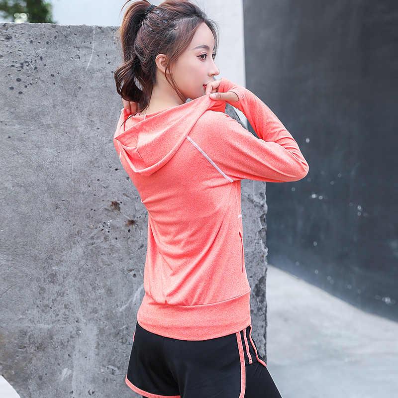 女性ジャケットヨガジャケットフード付きジッパージャケットフィットネス服トップスポーツジムワークアウト春秋のスポーツウェアトレーナー