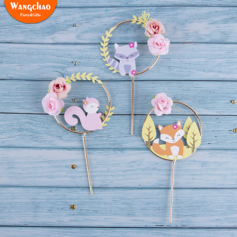 Beautiful Forest Animal Theme Cake Decoration Fox Squirrel Flower Wreath Garland Cake Topper Child Birthday Party Supplies-in Cake Decorating Supplies from Home & Garden