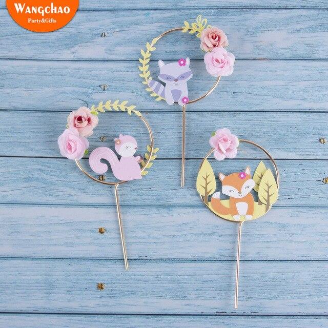 Decoración de Pastel con tema de animales de bosque hermoso, corona de flores de ardilla de zorro, para pastel guirnalda, Topper para fiesta de Cumpleaños de Niños, suministros