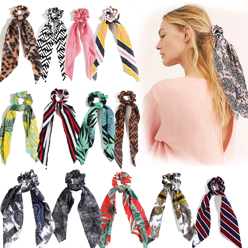Fashion Hair Accessories Long Scarf Ribbons Scrunchie For Women Bow Tie Elastic Ponytail Holder Girl Hair Bands Accesorios Mujer