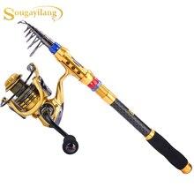 Sougayilang Portable Fishing Rod Reel Set Carbon Fiber Telescopic Travel Fishing Rods with 14 BB Spinning Fishing Reel Set