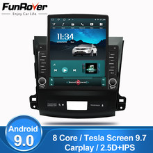 "Funrover 2.5D IPS 9.7"" Tesla 2din android 9.0 Car Radio Multimedia Video Player For Mitsubishi Outlander xl 2 2005-2011 gps dvd(China)"