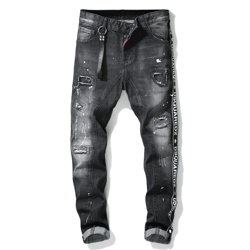 Dsquared2 Personality Patch Jeans Slim Fit Men's  Washed Denim