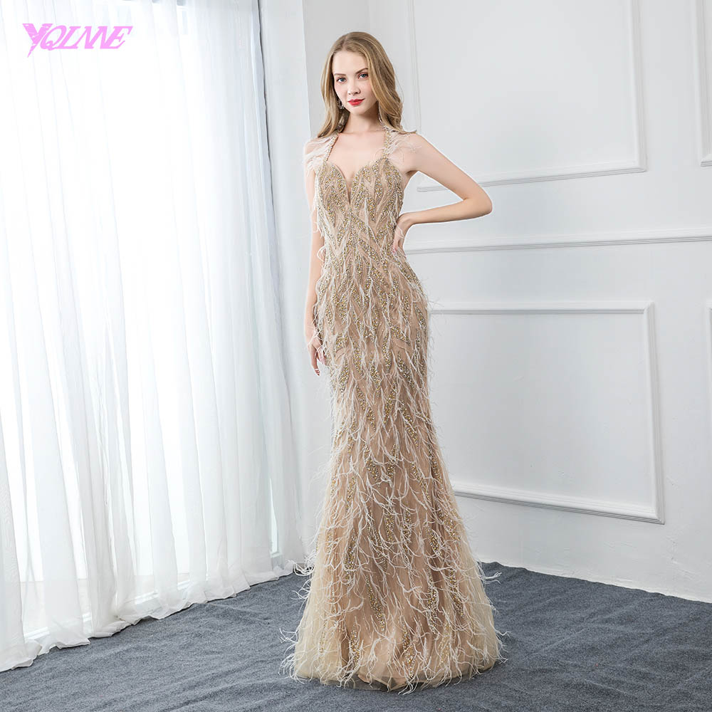 YQLNNE Couture Halter Feather Evening Dress Long Nude Crystals Beaded Backless Formal Evening Gown Robe De Soiree