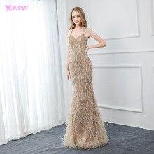 YQLNNE кутюр Холтер вечернее платье из перьев Длинные Обнаженные Кристаллы бисером спинки Формальное вечернее платье Robe De Soiree