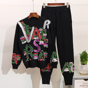 Set Female 2020 Autumn Winter Beading Sequins Letter Long sleeve Knitted Sweater Long Pants Tracksuit Female Loose Two Piece Set