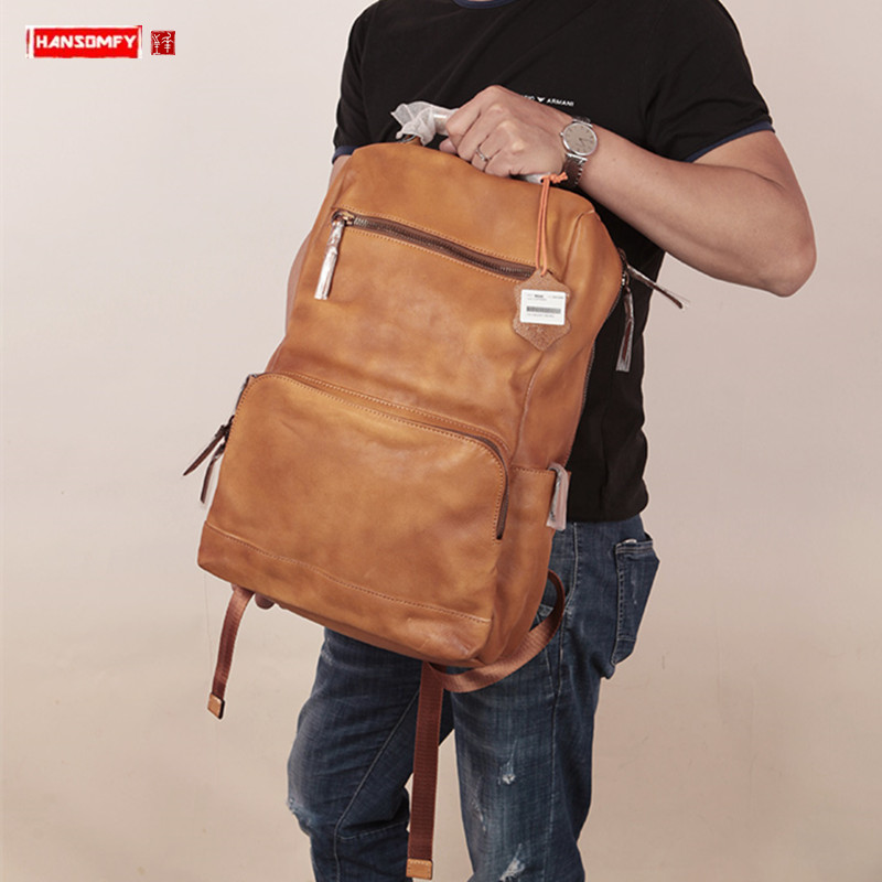Vegetable tanned leather Men backpack first layer cowhide large-capacity travel backpack male schoolbag 15.6 inch laptop bag