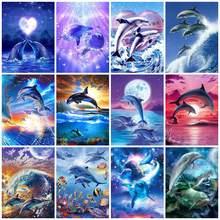 Quadrado/redondo diamante bordado golfinho ponto cruz 5d pintura diamante kits mosaico animais venda strass arte handwork presente