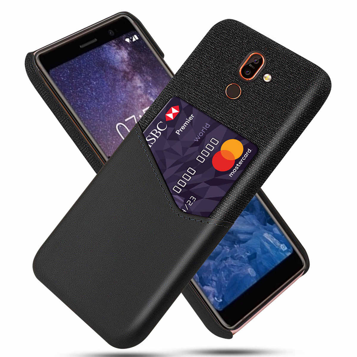 Applicable Nokia 7 plus Phone Case Simple Card Instert Leather Case Nokia 7 plus Hard Case Protective Case Linen Finish