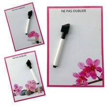 Flor a orquídea impresso seco apagar ímãs de geladeira flexíveis quadro branco/placa de mensagem/almofada de memorando/caixa de diálogo ímã