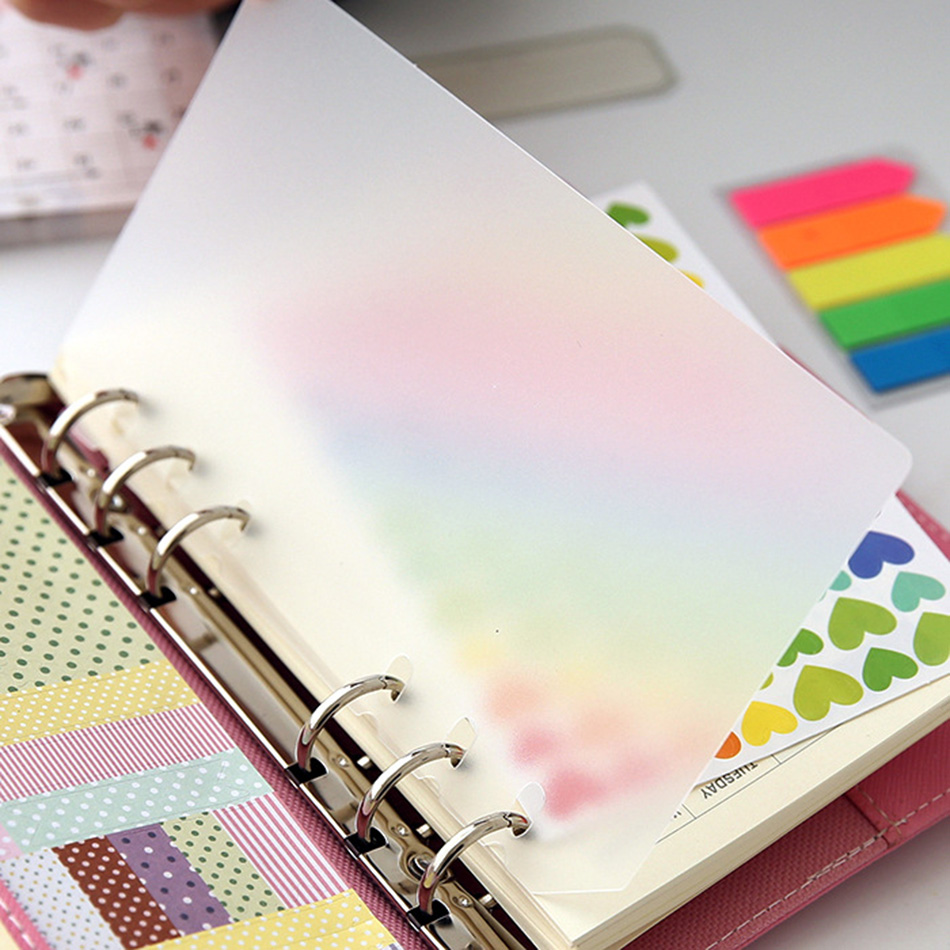 2pcs A5 A6 A7PP Loose Leaf Binder, Simply Notebook Inner Binder Transparent Frosted Index Divider Padfolios DIY Accessory(China)