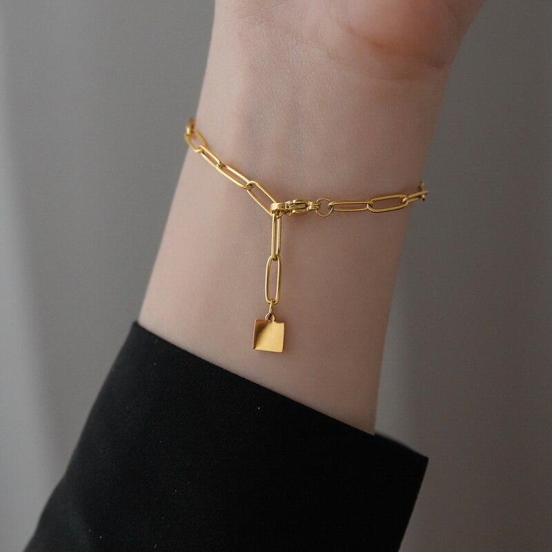 Модная позолоченная квадратная подвеска YUN RUO 2020, браслет-цепочка, популярная женщина, девочка, ювелирные изделия из нержавеющей стали, аксе...