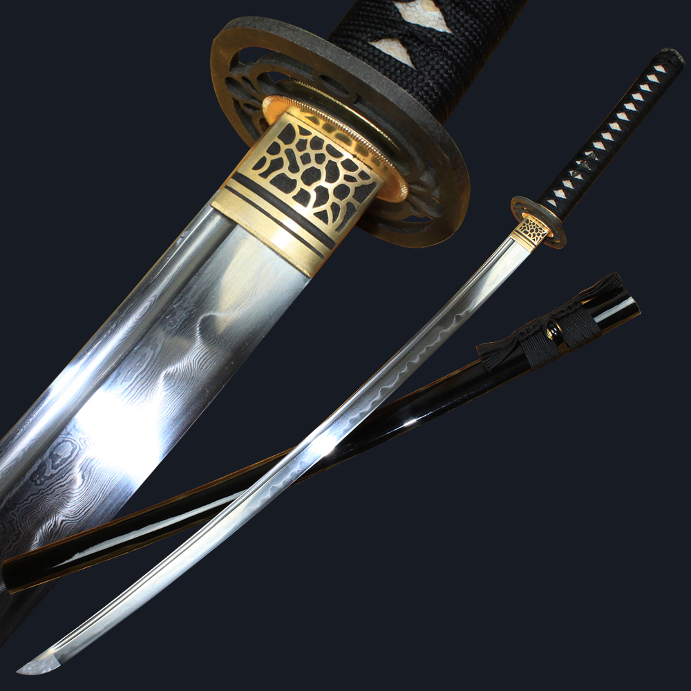 Handmade High-grade Japanese Katana Pattern steel Burnt blade Long knife Cold weapon Sharp Bushido saber Hand grinding