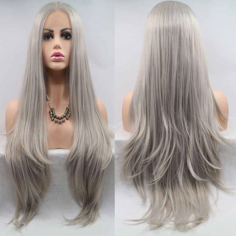 ยาวธรรมชาติตรงสีเทา Hand Tied Synthetic ลูกไม้ด้านหน้าด้านหน้า Wigs Glueless Wigs ทนความร้อนสำหรับสีขาว