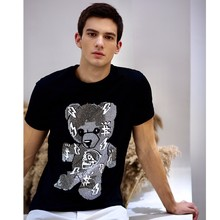 Alex Plein T shirt Men Summer Casual Cotton Teddy Bear Rhinestones Crystal Shortsleeve Round Neck 2020 Summer Streetwear Cartoon