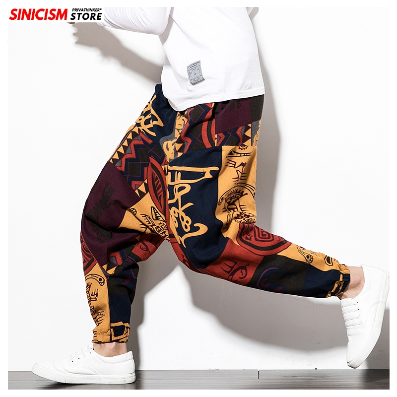 Sinicism Store Chinese Style Casual Pants Men 2020 Printed Spring Summer Casual Trousers Mens Loose Hip Hop Cross Pant Male 5XL